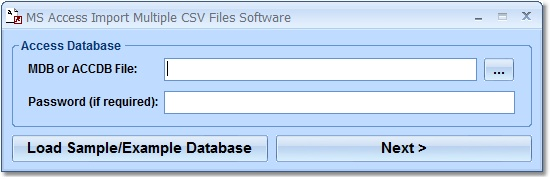 Screenshot of MS Access Import Multiple CSV Files Software