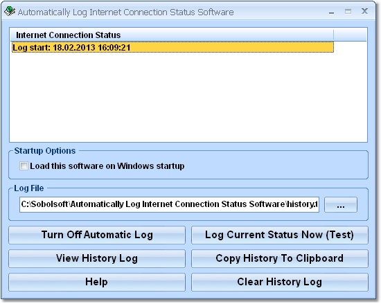 Automatically Log Internet Connection Status Softw screen shot
