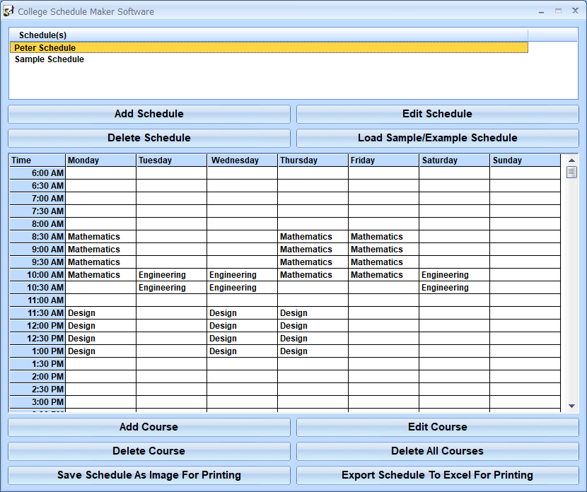 College Schedule Maker Software