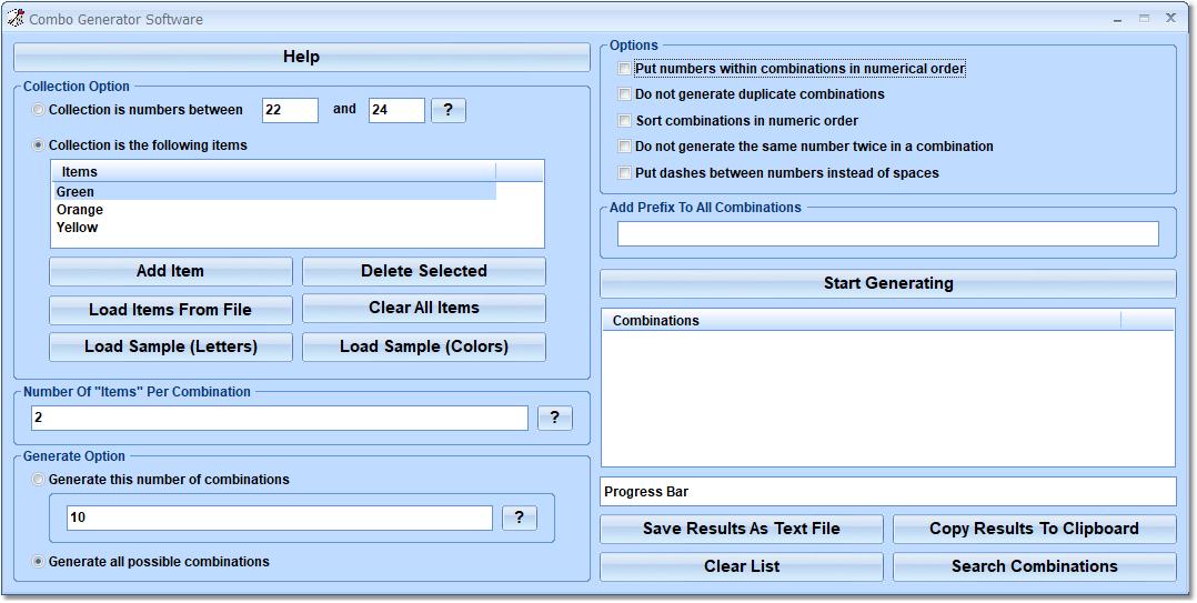 Combo Generator Software full screenshot