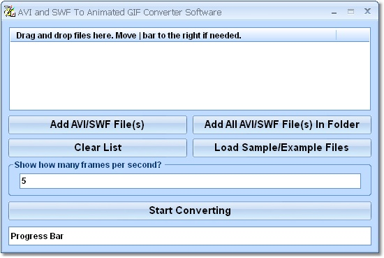 Change multiple AVI or SWF files into GIFs.