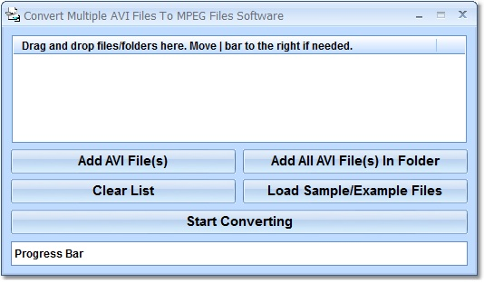 Create multiple MPG/MPEG from AVI files.