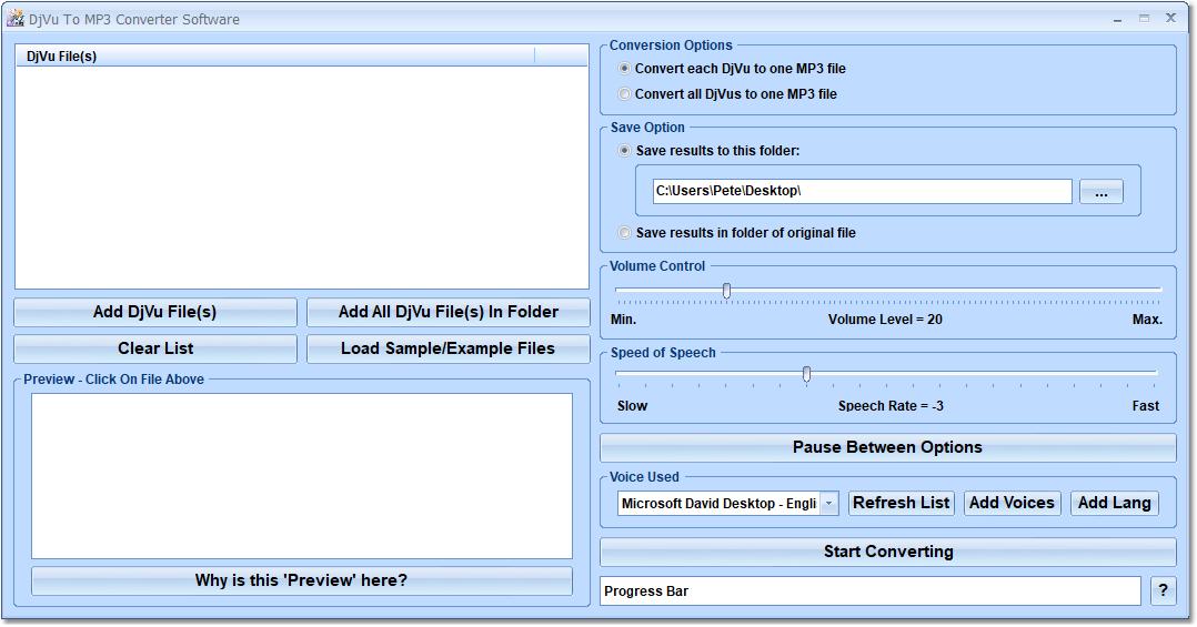 DjVu To MP3 Converter Software full screenshot