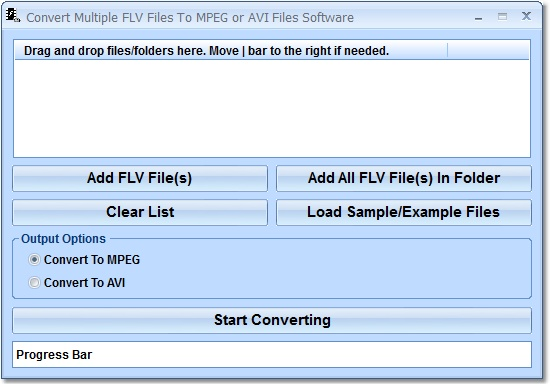 Create multiple MPEG or AVI files from FLV.