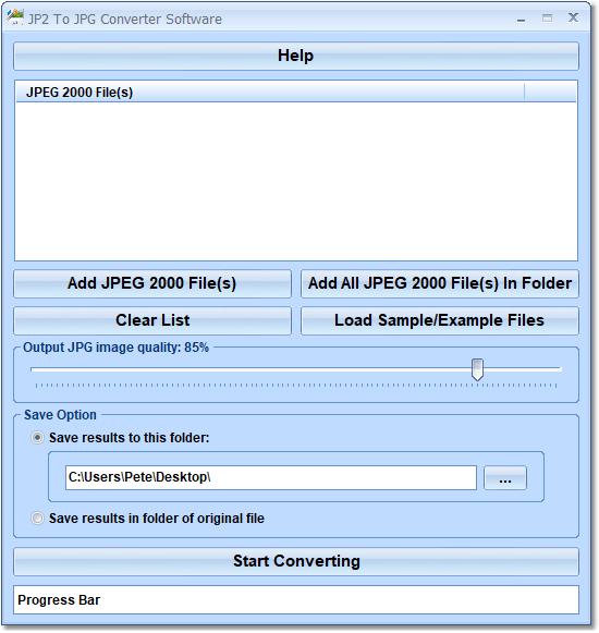 JP2 To JPG Converter Software full screenshot