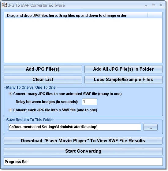 Convert multiple JPG's to SWF's.