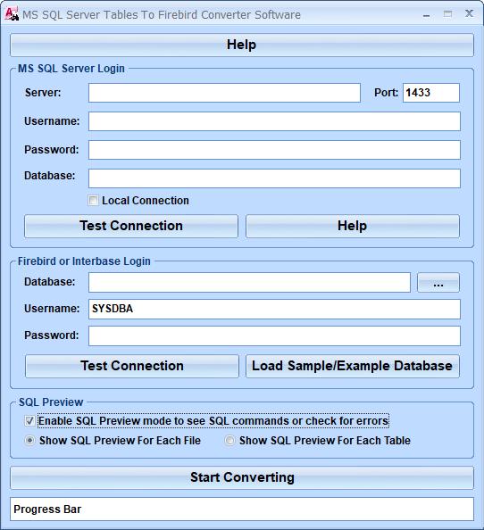 MS SQL Server Tables To Firebird Converter Software full screenshot