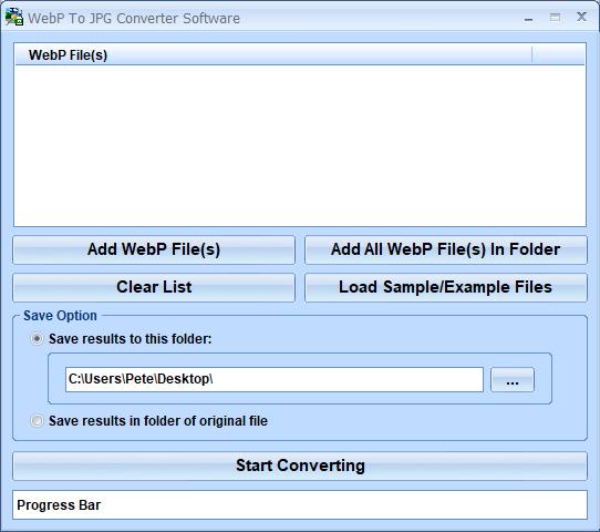 Windows 7 WebP To JPG Converter Software 7.0 full