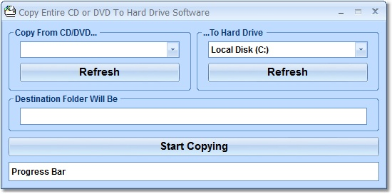 Copy contents of a CD or DVD to a folder.