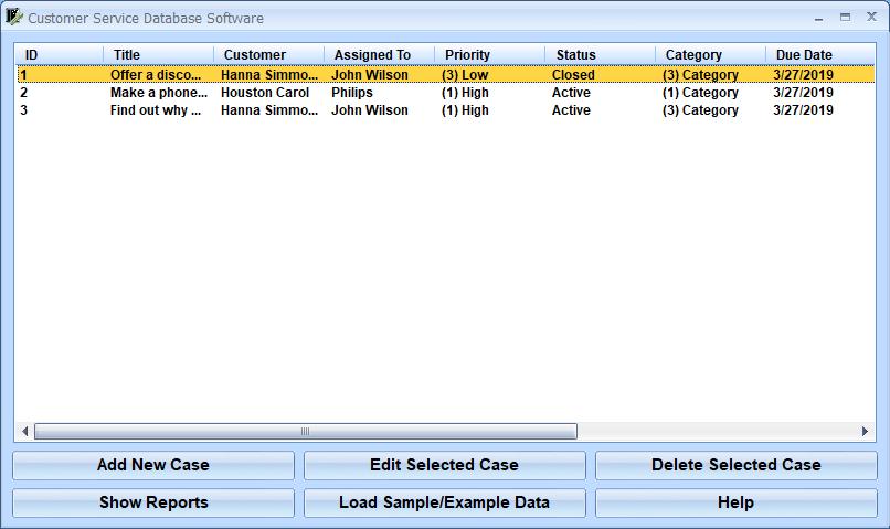 Customer Service Database Software full screenshot