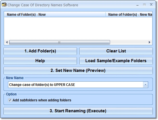 Screenshot of Change Case of Directory Names Software