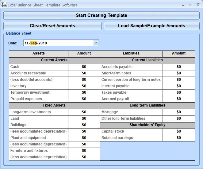 excel balance sheet template software windows 10 screenshot