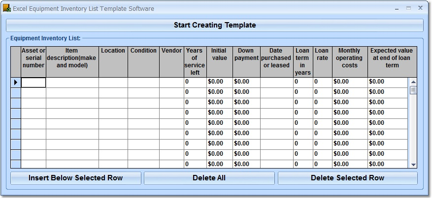 Create templates for equipment inventory list