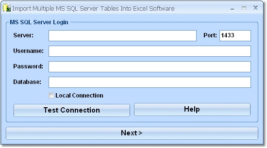 Import data from MS SQL Server tables into XL