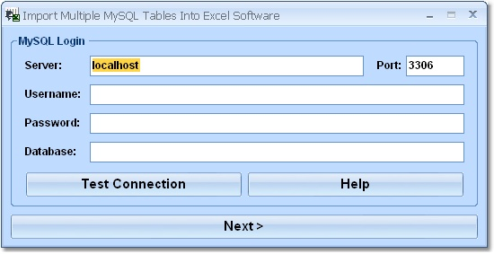 Import data from MySQL tables into Excel.