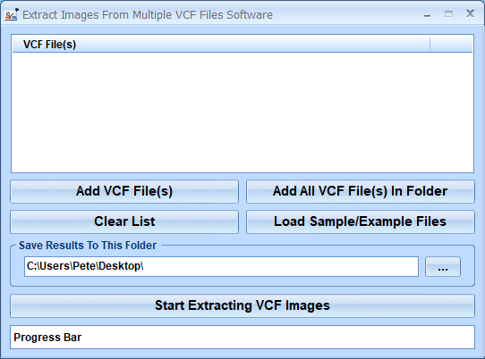 Extract Images From Multiple VCF Files Software full screenshot