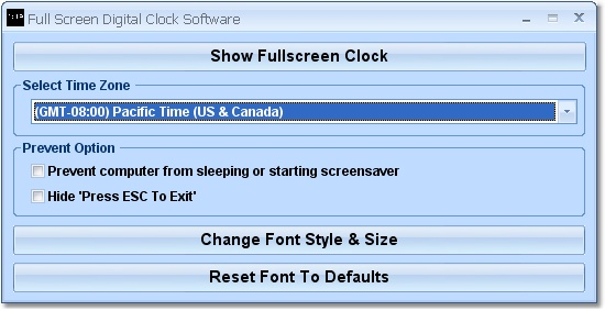 Display the current time at fullscreen.