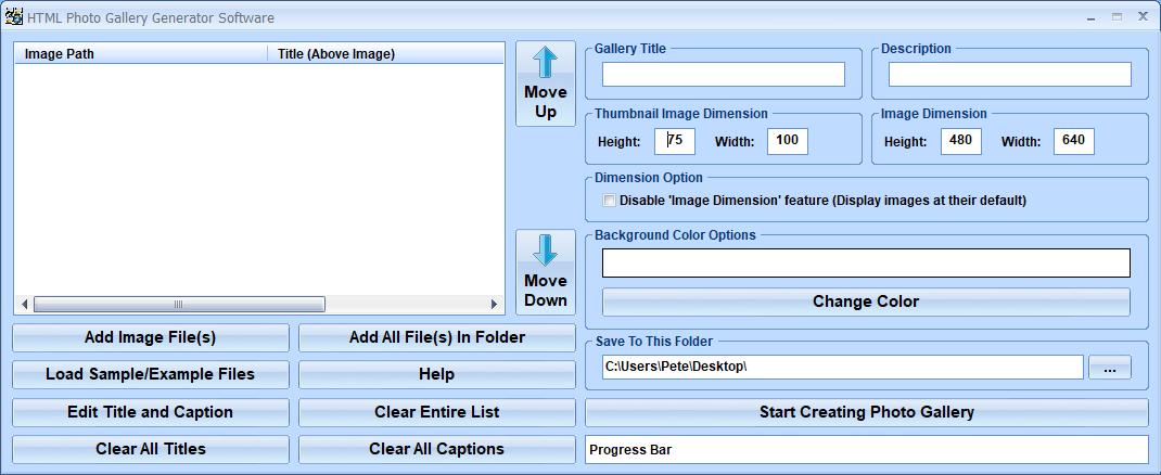 HTML Photo Gallery Generator Software full screenshot