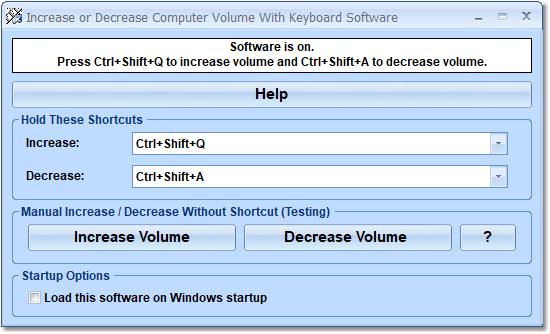 Increase or Decrease Computer Volume With Keyboard Software full screenshot