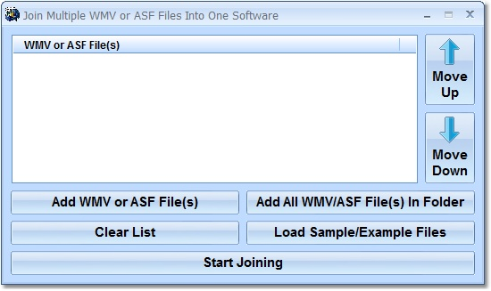 Click to view Join Multiple WMV or ASF Files Into One Software 7.0 screenshot