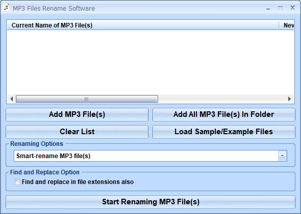 MP3 Files Rename Software full screenshot