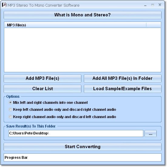 Convert MP3 files from stereo to mono.