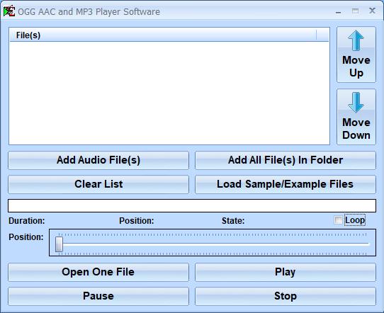 OGG AAC and MP3 Player Software screenshot