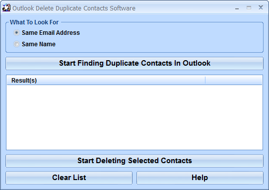 Outlook Delete Duplicate Contacts Software 7.0 full