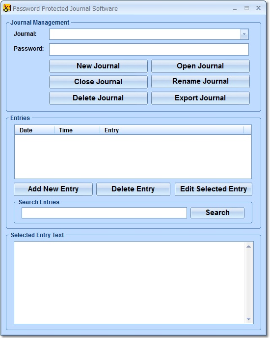 Click to view Password Protected Journal Software 7.0 screenshot