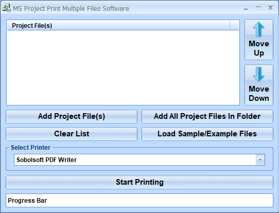 MS Project Print Multiple Files Software full screenshot