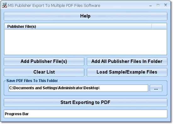 Convert many MS Publisher files into PDF.