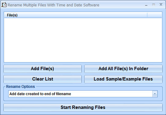 Click to view Rename Multiple Files With Time and Date Software 7.0 screenshot