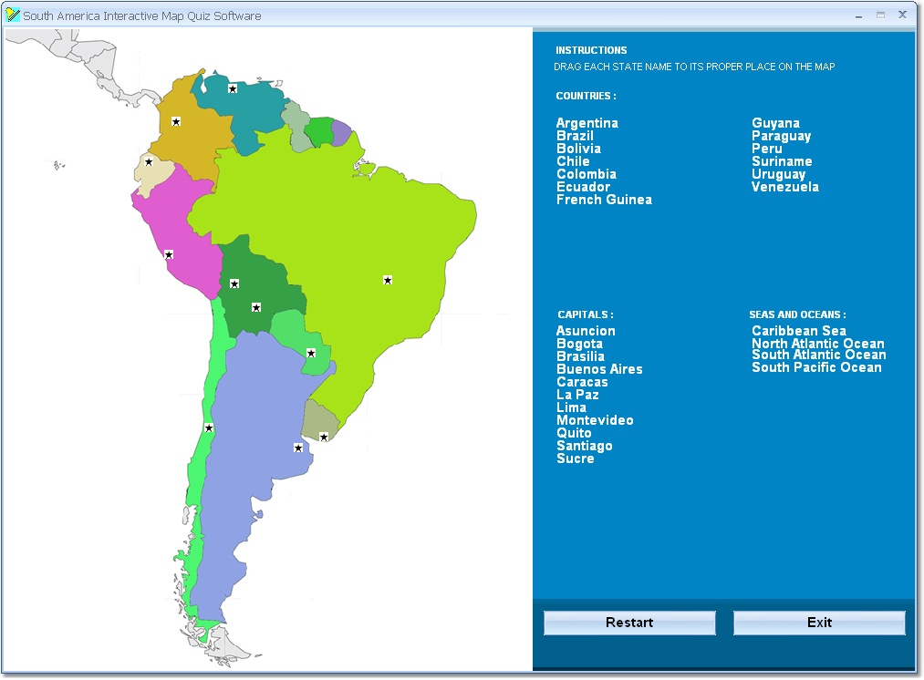 Drag and drop the country names of S. America