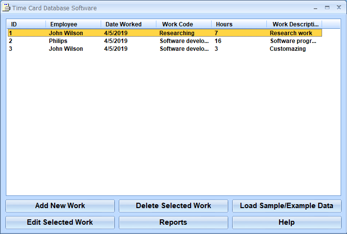 Windows 7 Time Card Database Software 7.0 full