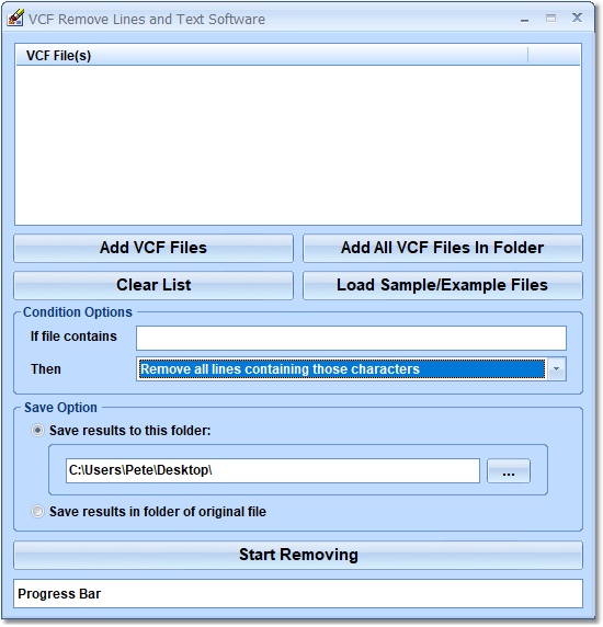 VCF Remove Lines and Text Software full screenshot