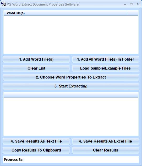 MS Word Extract Document Properties Software full screenshot